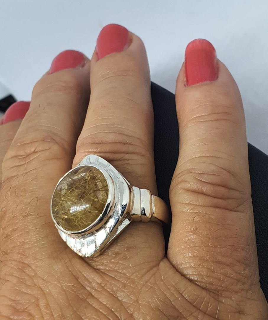 Sterling silver designer ring with large rutilated quartz image 1