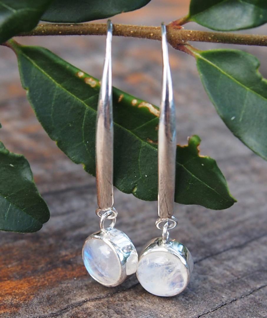 Long, elegant, silver moonstone earrings image 1