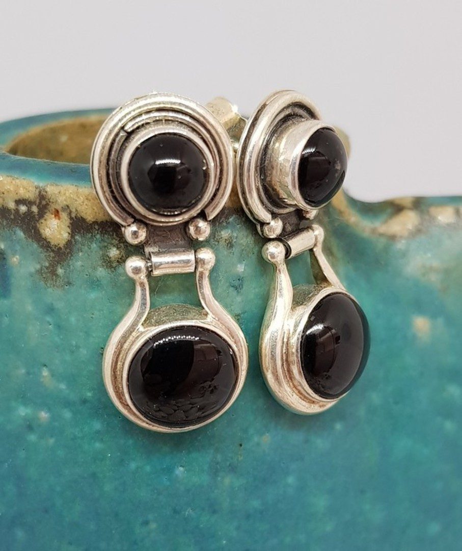 Double gemstone, black onyx silver earrings image 0