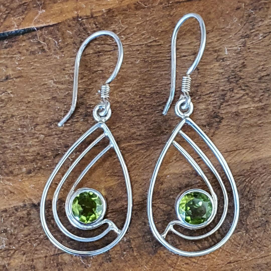 Silver peridot earrings, open teardrop shape image 2