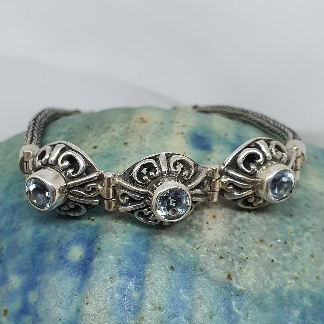 Delicate blue topaz gemstone bracelet image 0