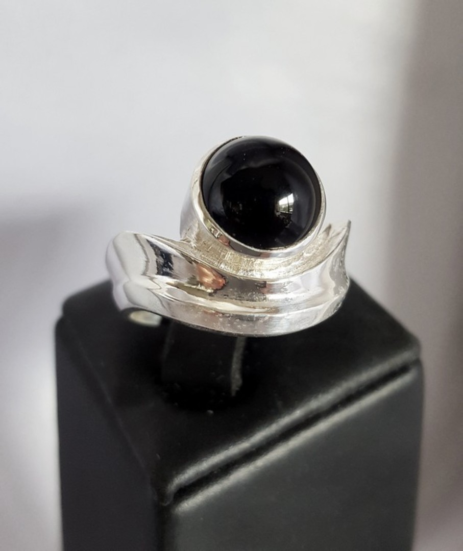 Silver black onyx ring | Made in NZ image 0