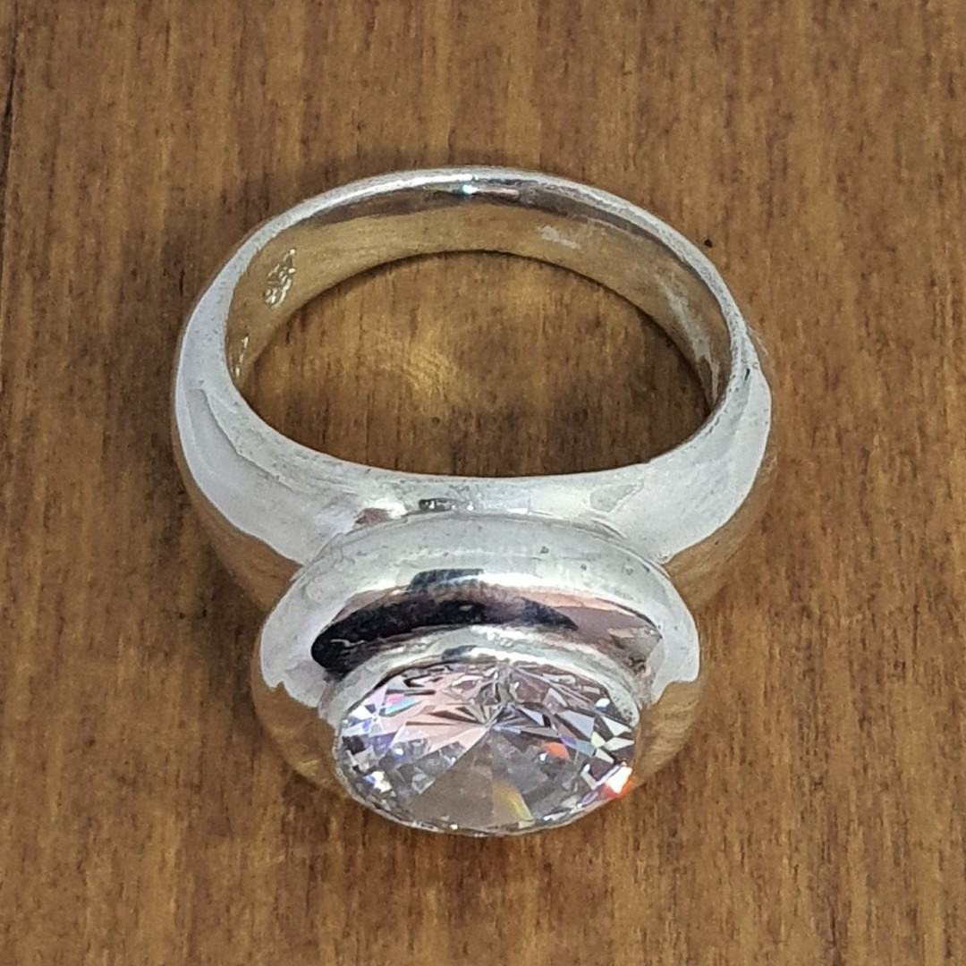 Made in NZ, chunky silver cubic zirconia ring image 2