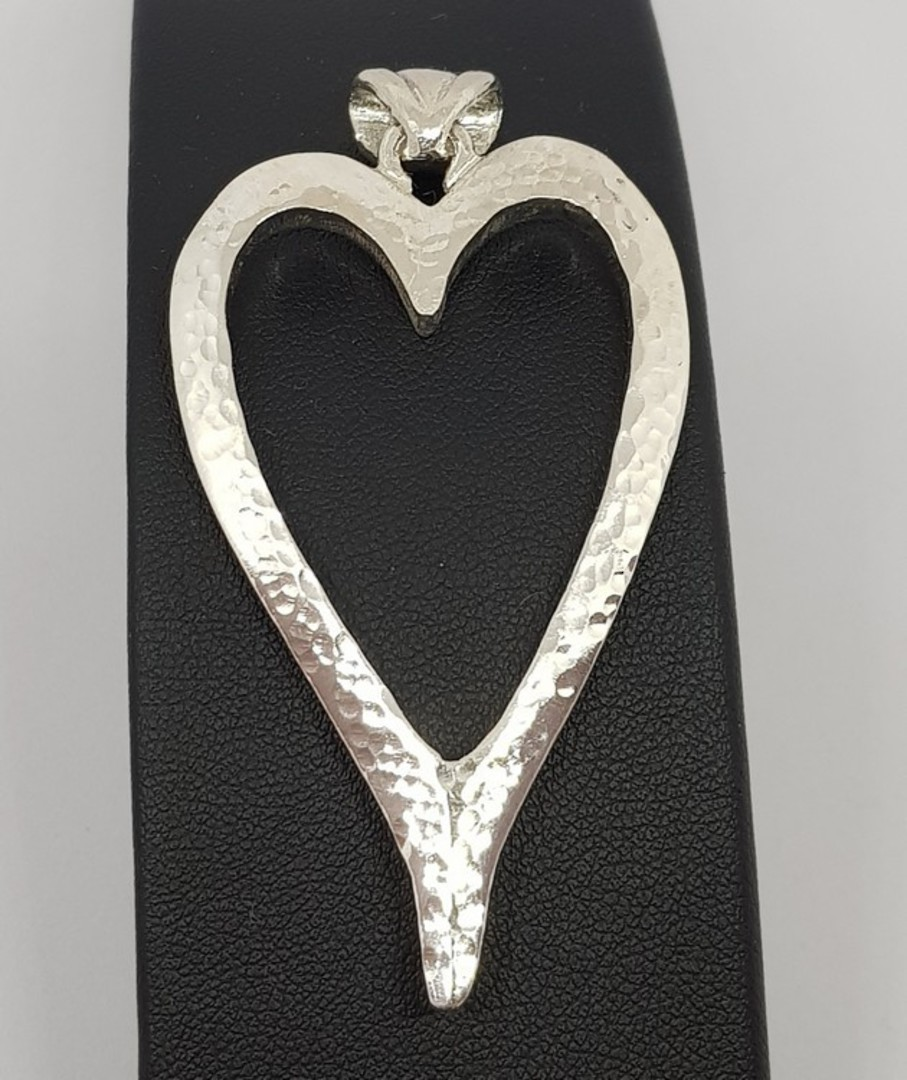 Large sterling silver heart pendant - made in New Zealand image 1