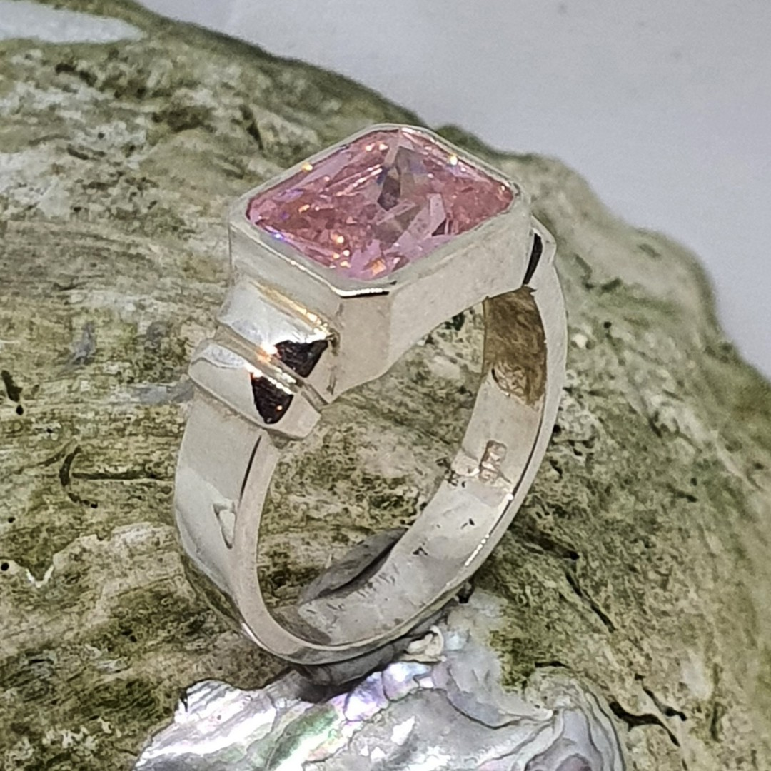 Silver ring with pink sparkling stone image 1