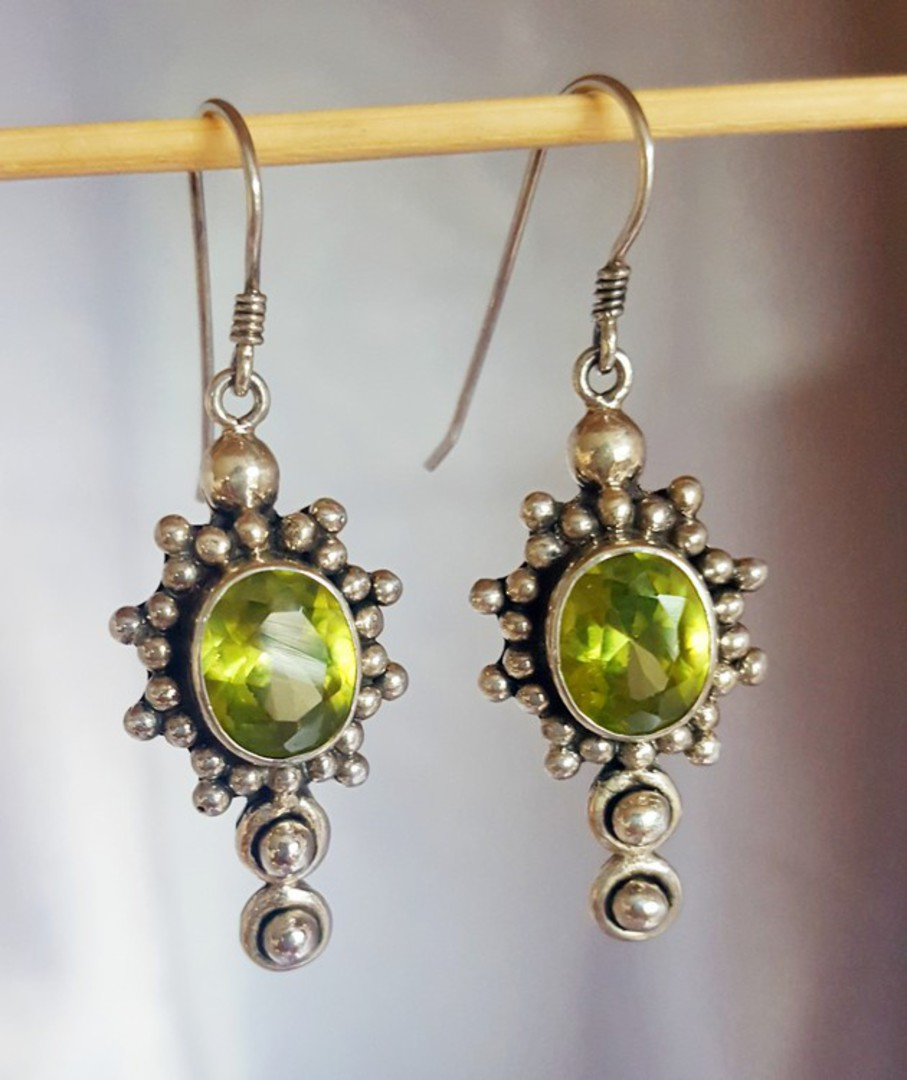 Large ornate silver peridot earrings with a gorgeous image 1