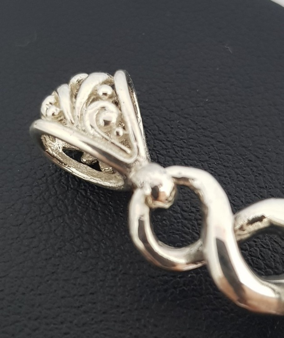 New Zealand solid sterling silver infinity pendant image 1