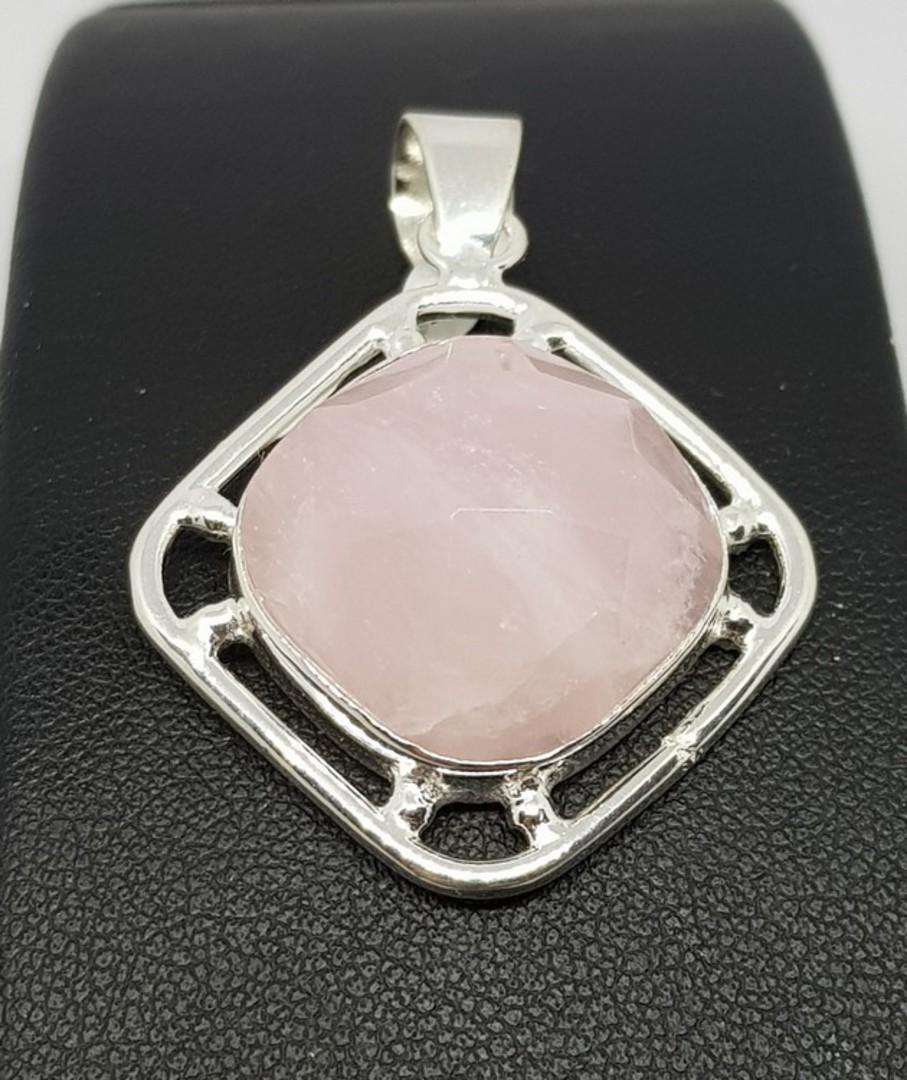 Sterling silver large facet cut rose quartz pendant image 1
