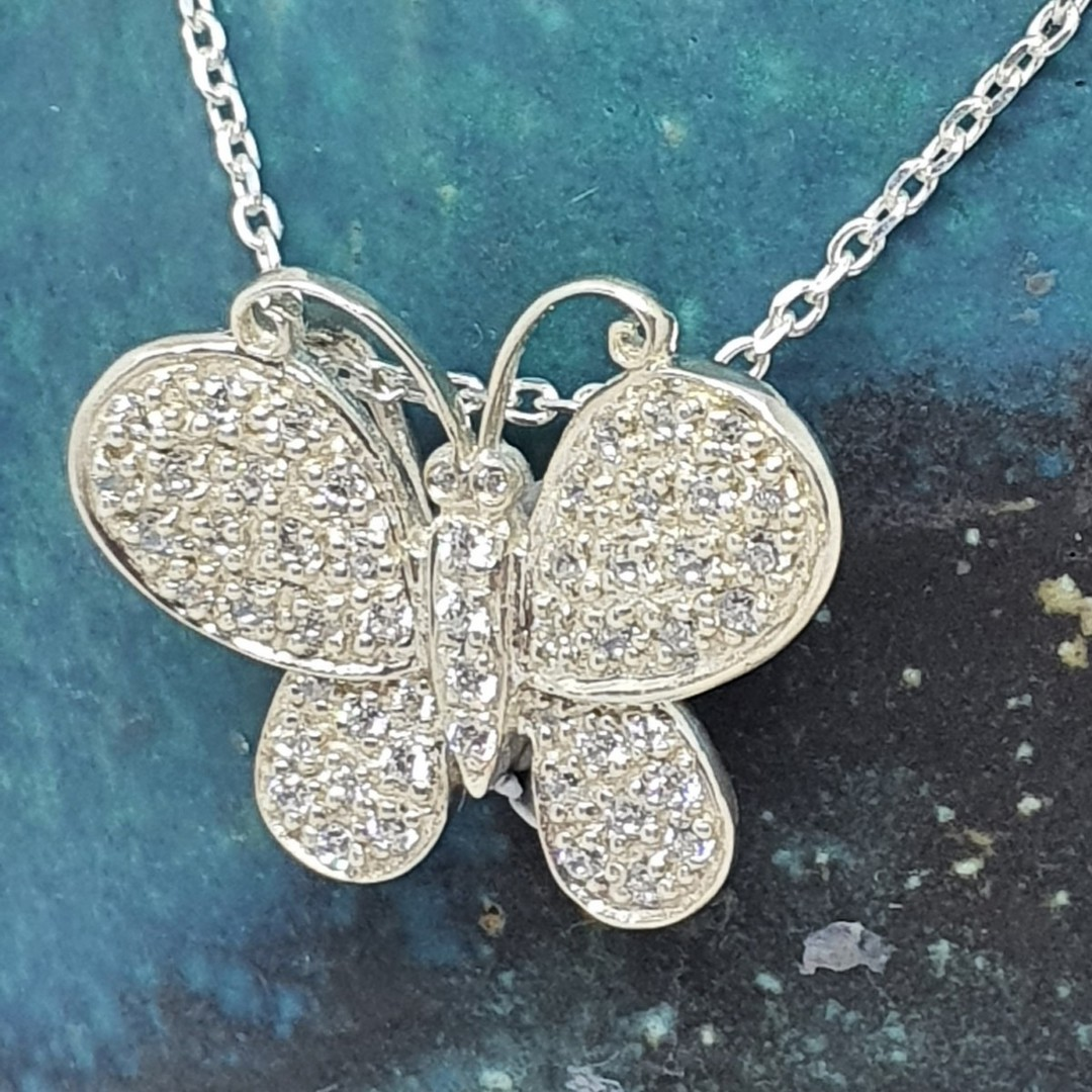 Sterling silver butterfly necklace image 3