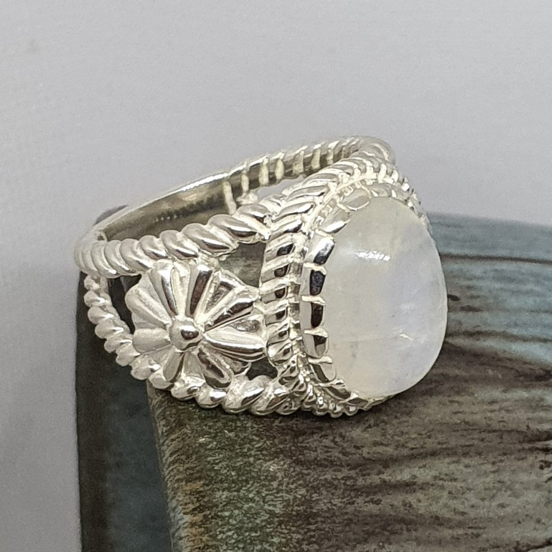 Sterling silver moonstone flower ring image 2