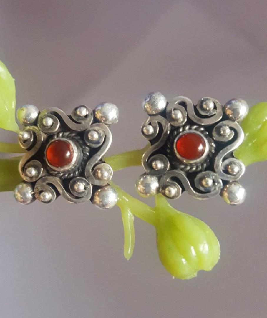Sterling silver carnelian stud earrings image 1