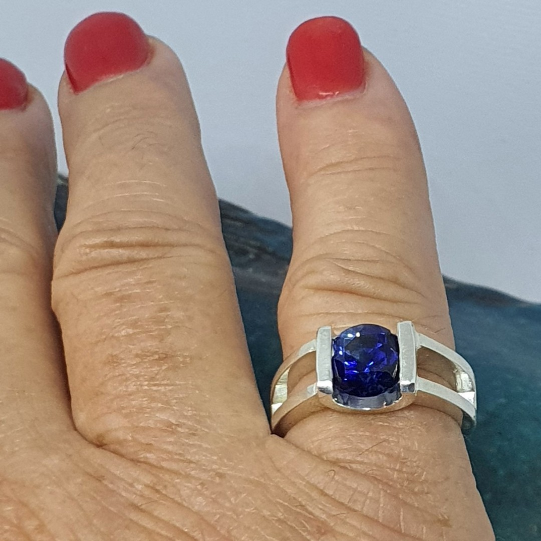 Open sides, sterling silver ring with deep blue gemstone image 1