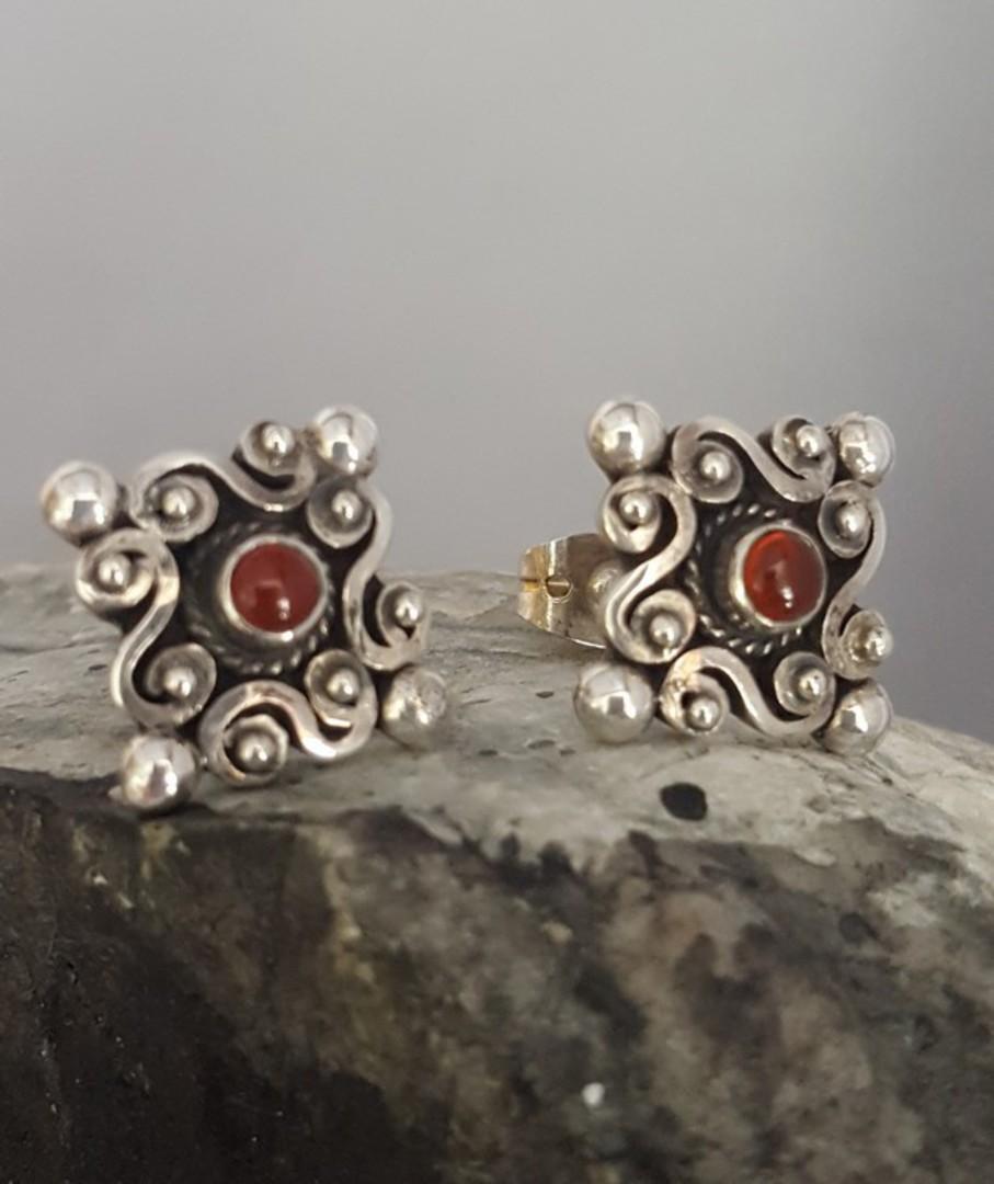 Sterling silver carnelian stud earrings image 0