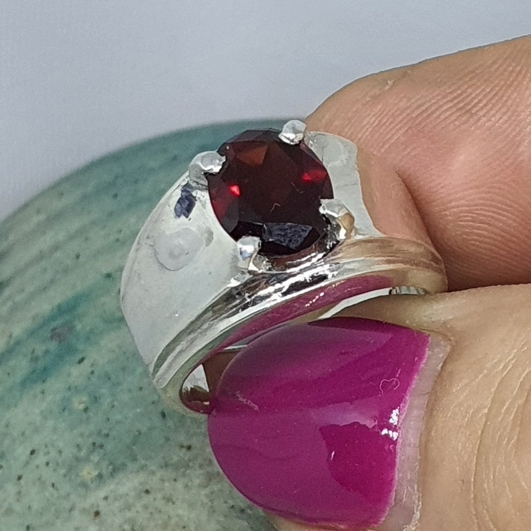 Wide silver band ring with red garnet gemstone image 3