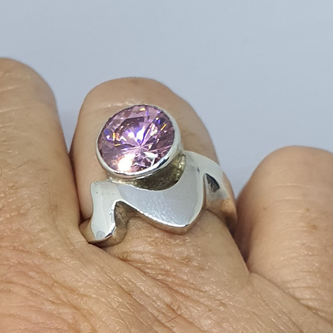 Sparkling pink gemstone ring image 1