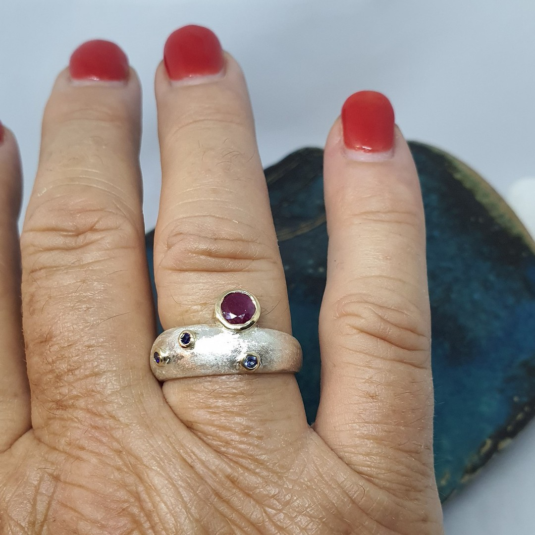Made in NZ silver ruby and sapphire ring image 1
