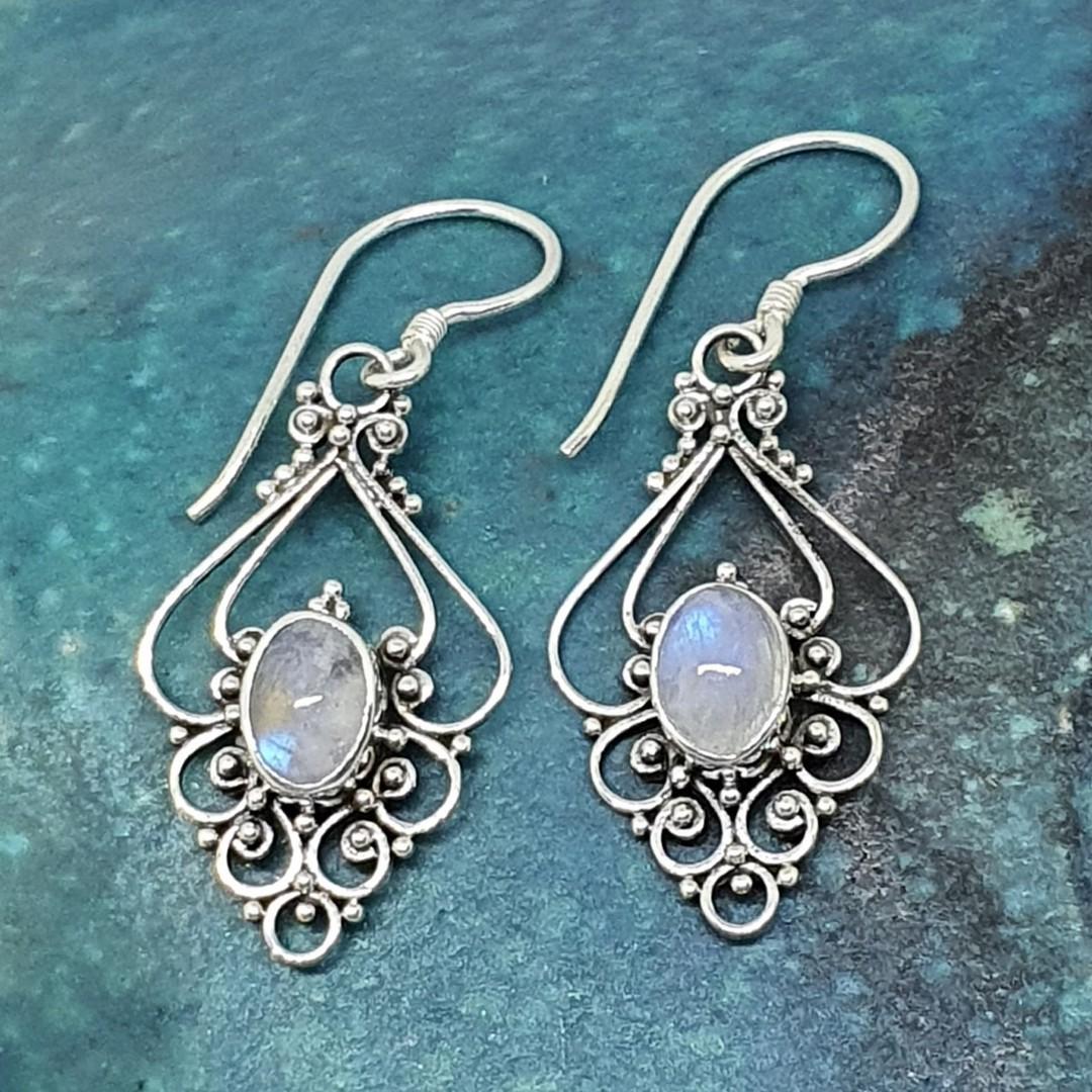 Romantic, delicate moonstone earrings image 0