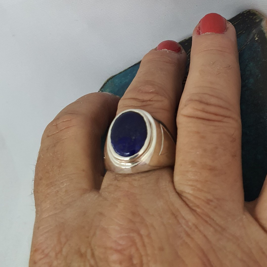 Chunky silver oval lapis lazuli ring - made in NZ image 1