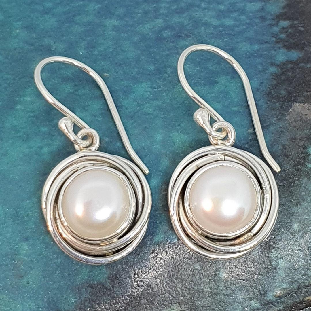 Modern design, silver pearl earrings image 0