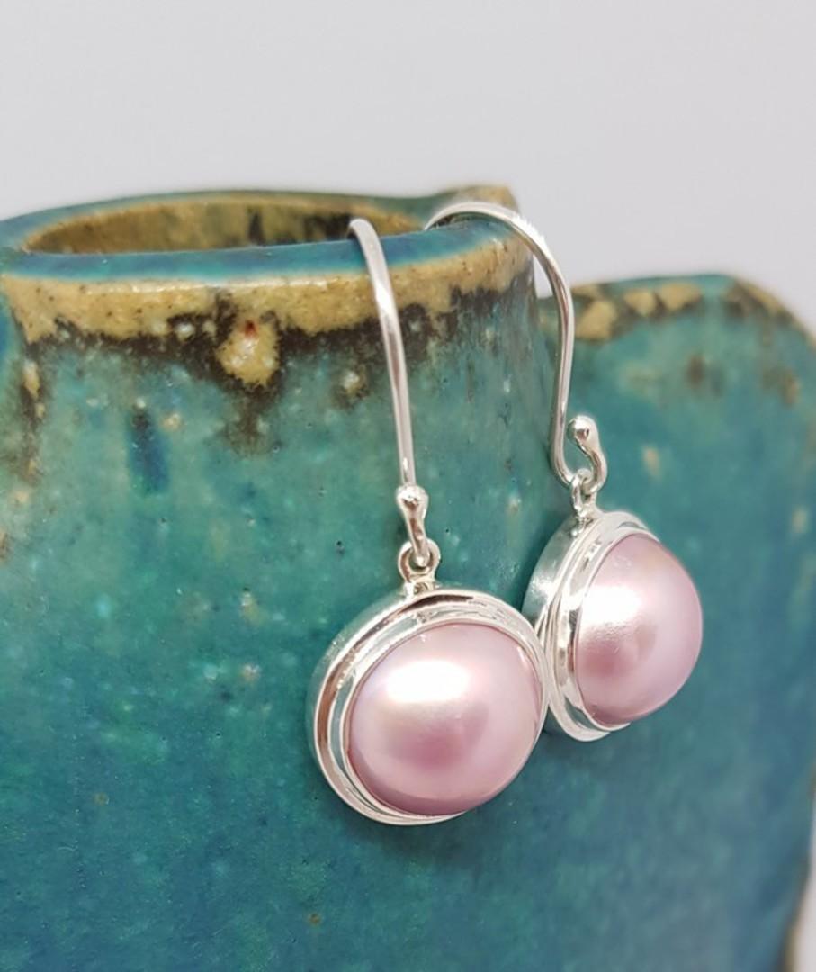 Sterling silver pink pearl hook earrings image 2