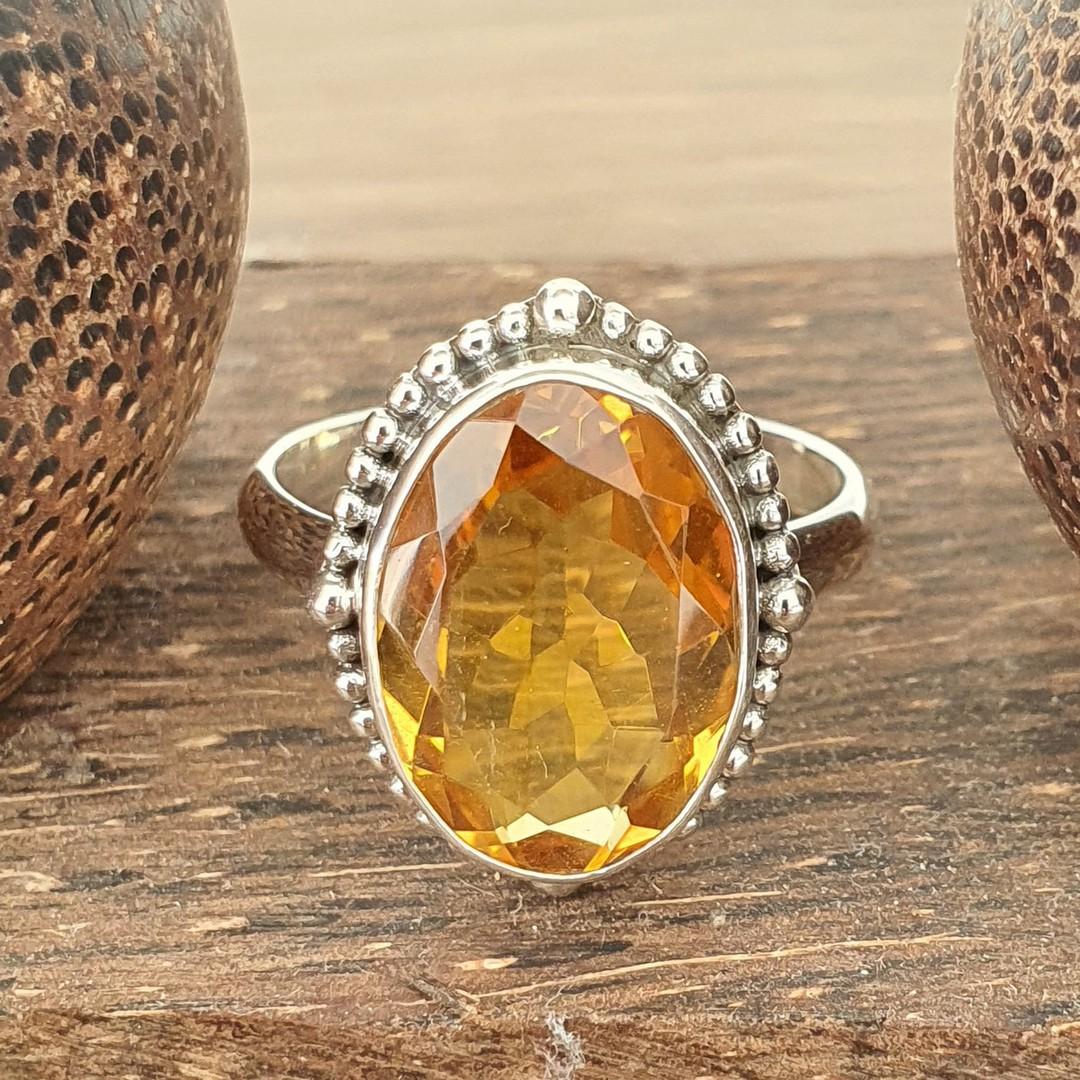 Stunning silver citrine ring image 3