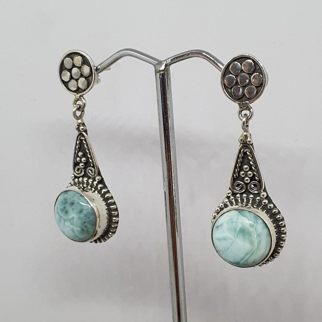 Round larimar gemstone, long teardrop silver earrings image 1