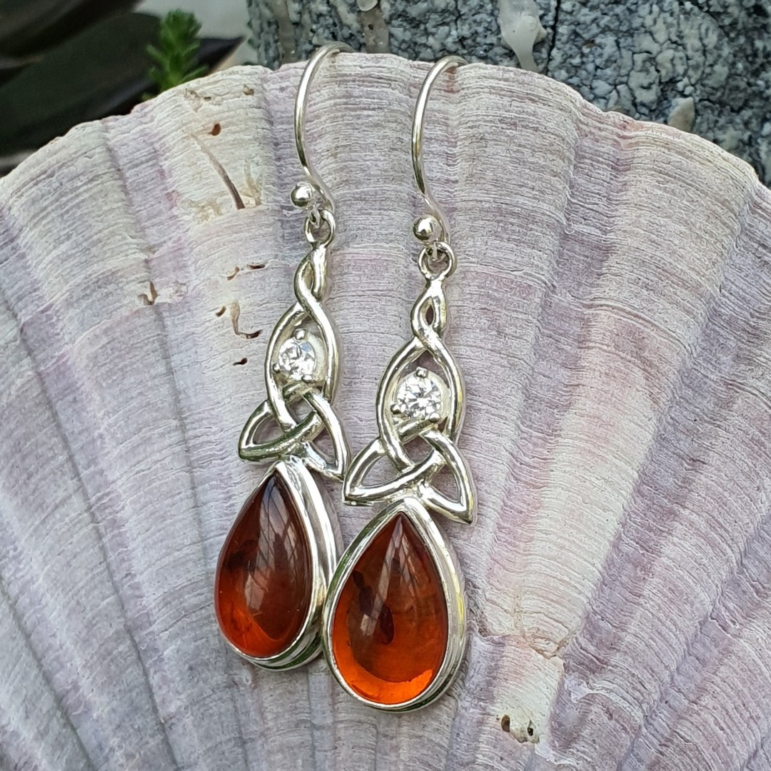 Silver amber earrings with infinity knot and cz gemstone image 2