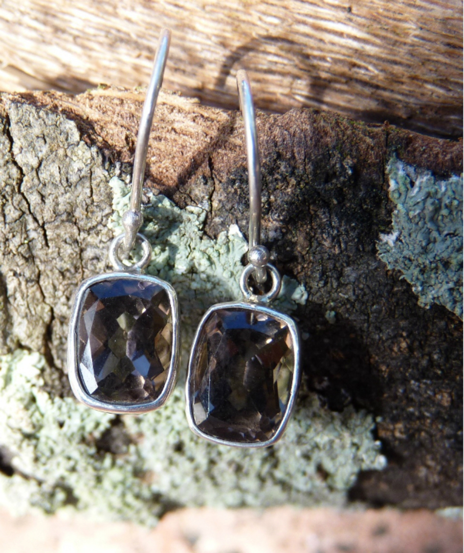 Smoky quartz silver earrings image 2