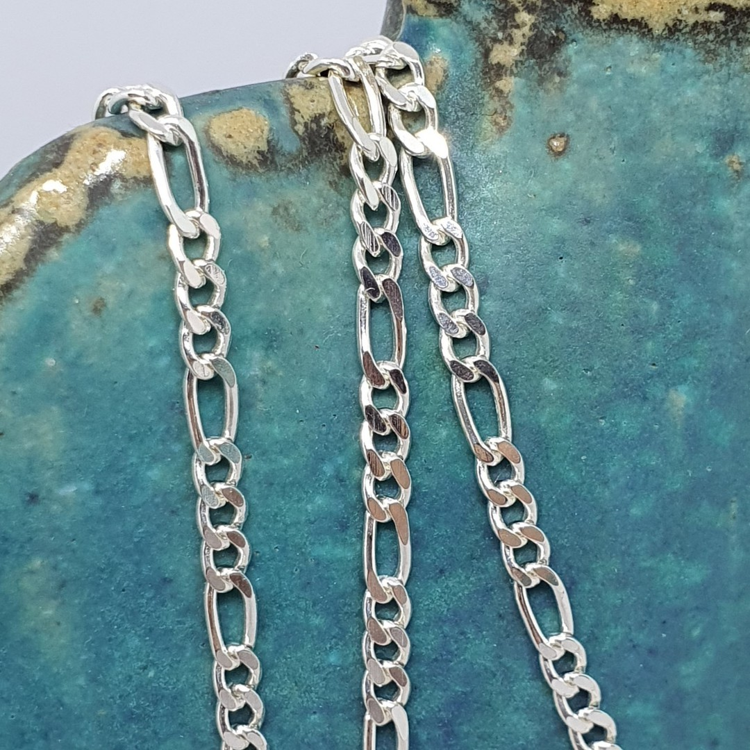 Sterling silver figaro chain, 60cms long image 2
