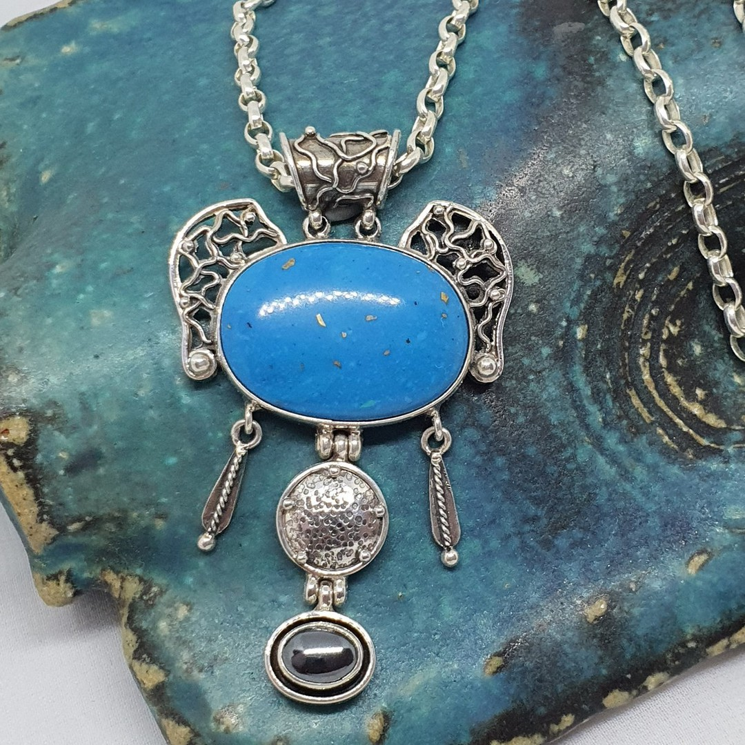 One off exquisite turquoise pendant image 3