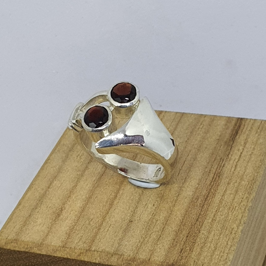 Sterling silver red gemstone ring, made in NZ image 1