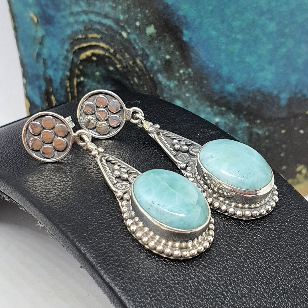 Oval larimar gemstone, long teardrop silver earrings image 0