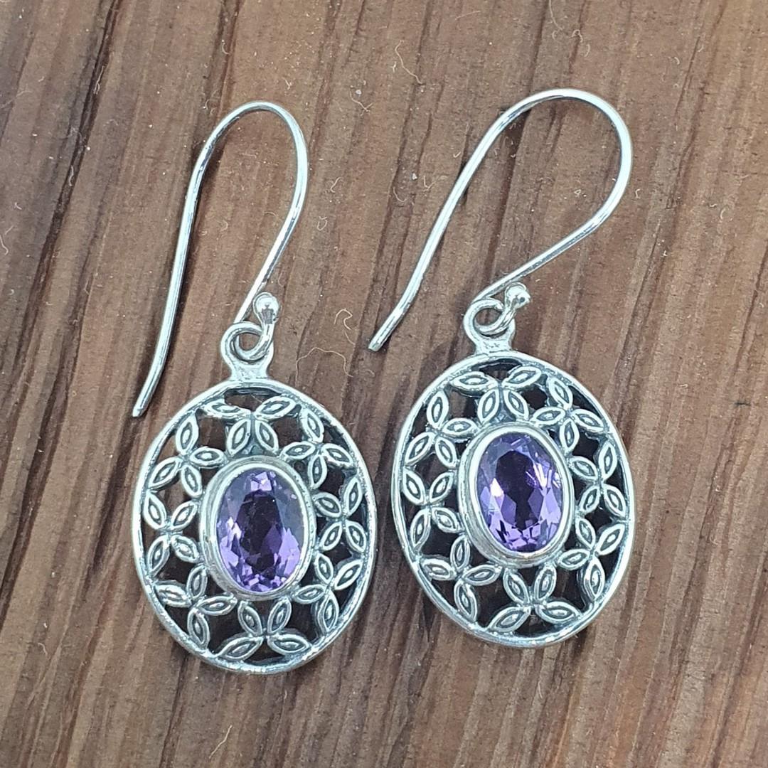 Silver purple gemstone earrings image 2