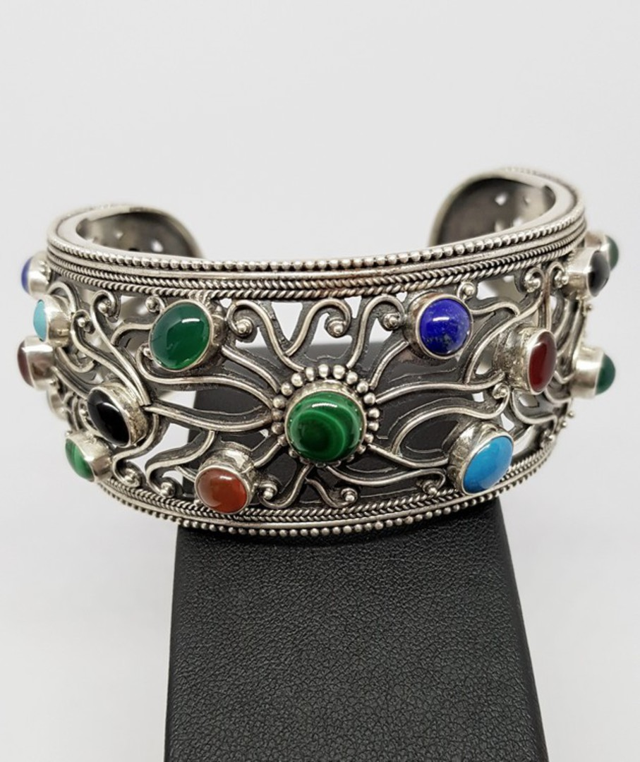 Natural gemstone cuff (slave) bangle image 2