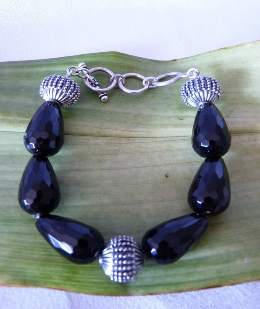 Facet cut black onyx beads and silver bracelet image 2