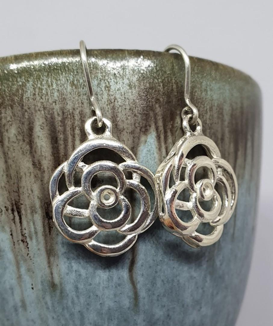 Made in New Zealand, silver flower earrings image 0