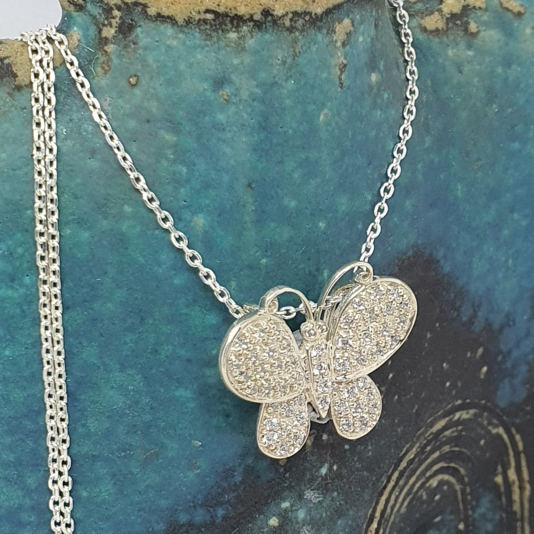 Sterling silver butterfly necklace image 1