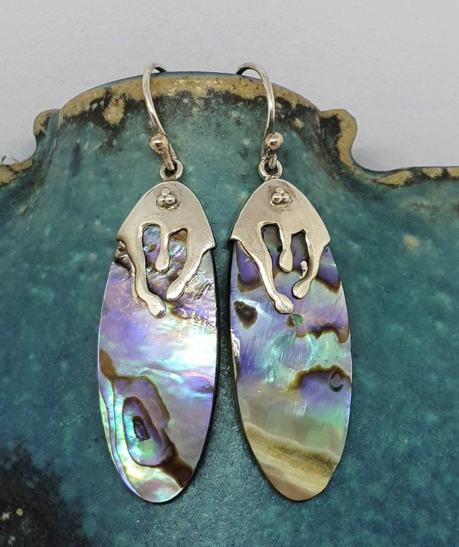 Sterling Silver Paua Shell Earrings image 1