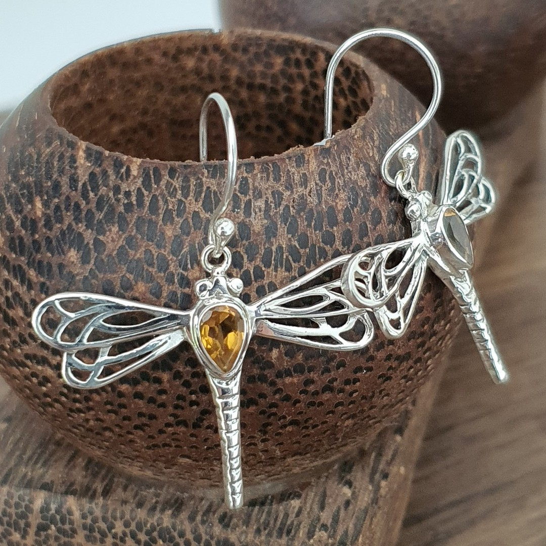 Sterling silver dragonfly citrine earrings image 3