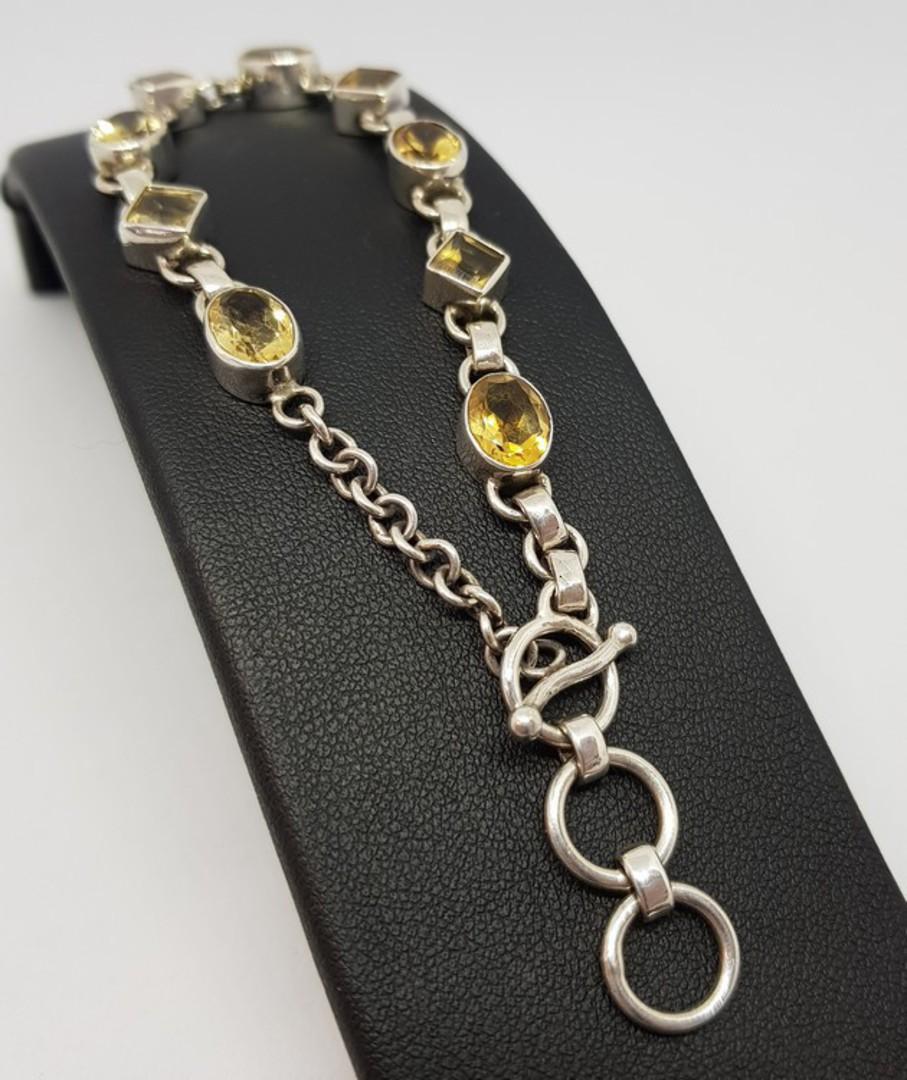 Sterling silver citrine gemstone bracelet image 1