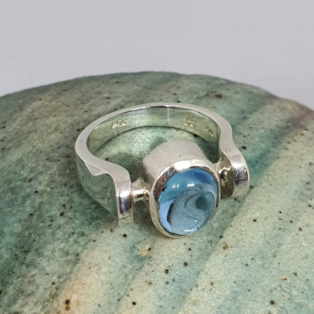 Sterling silver ring with blue gemstone image 1
