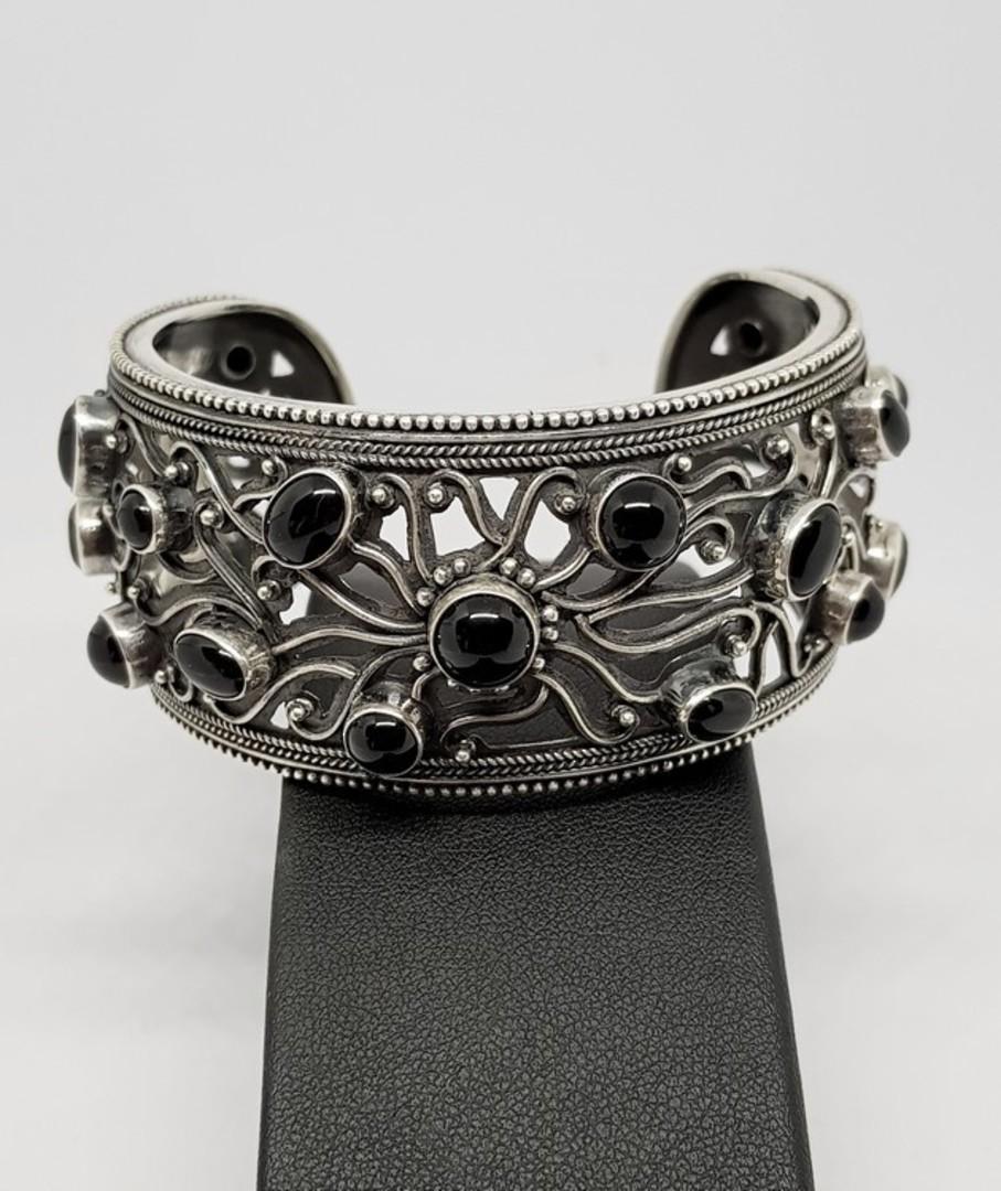 Wide silver ornate cuff bangle with black onyx image 1