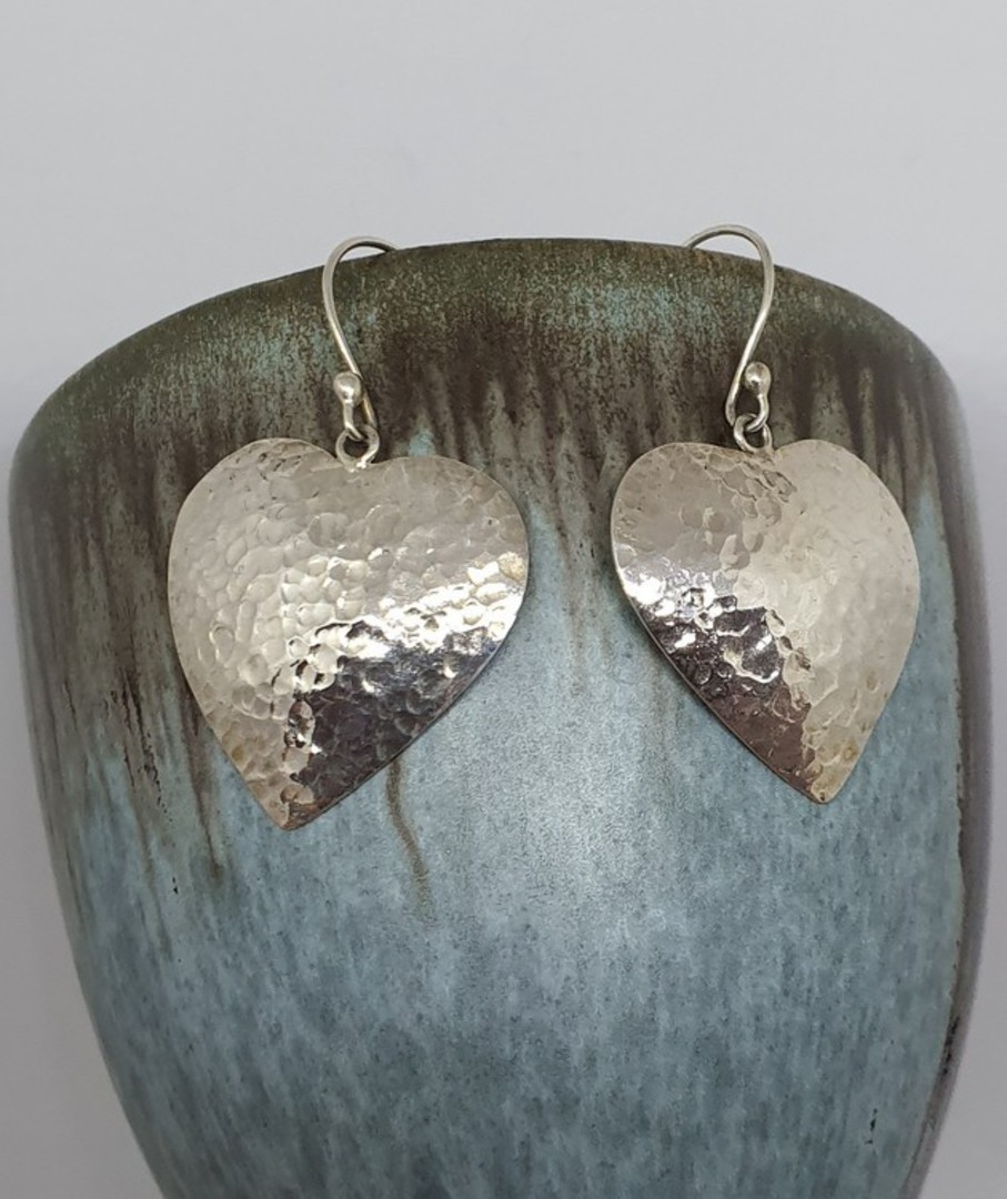 Sterling silver large heart earrings image 0