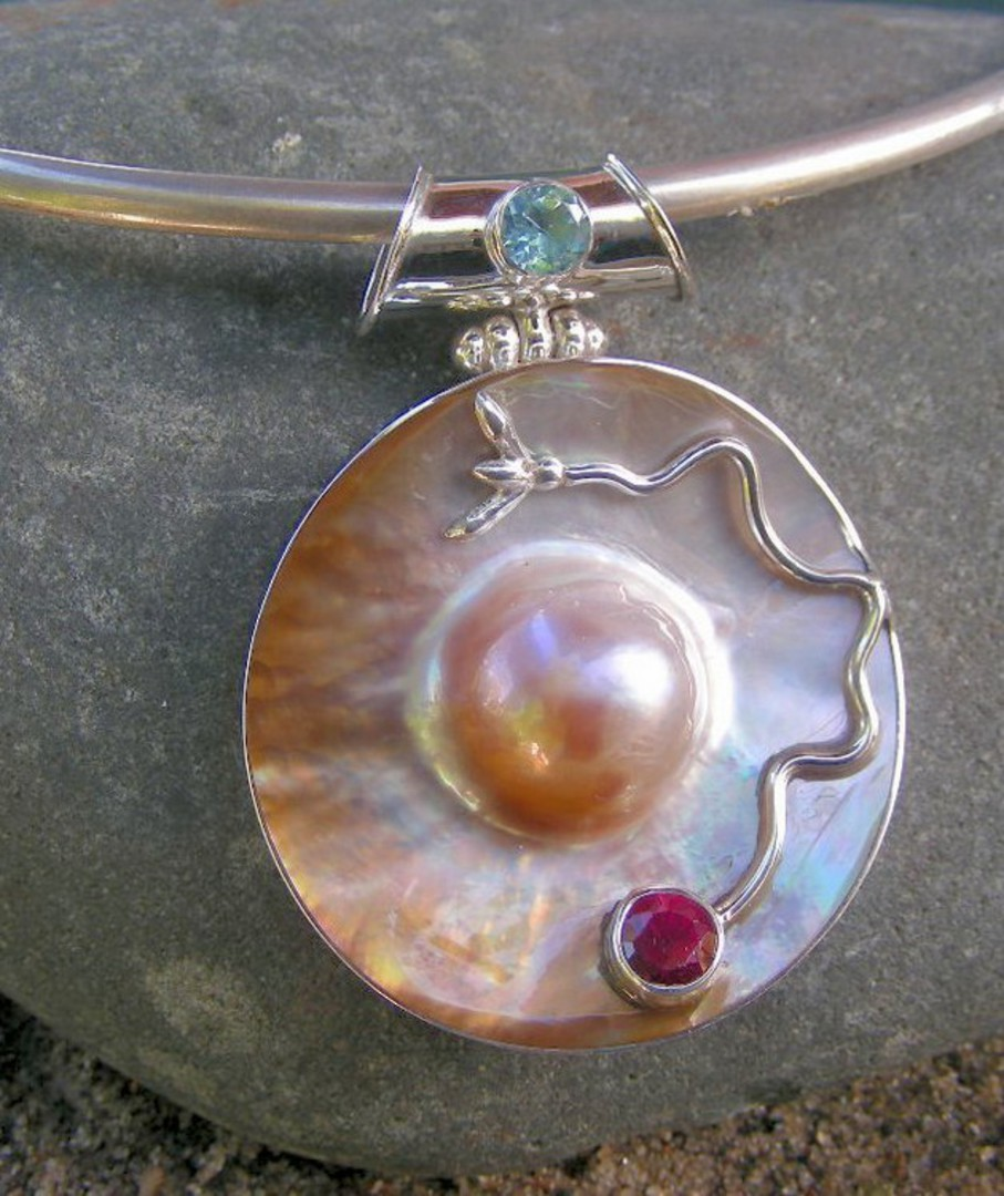 Blister pearl with gemstones silver pendant image 1
