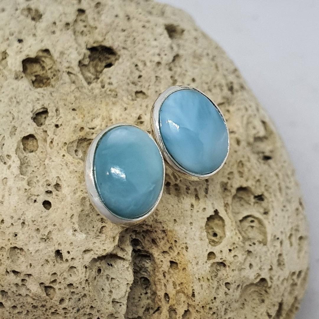Cute little oval larimar gemstone stud earrings image 1