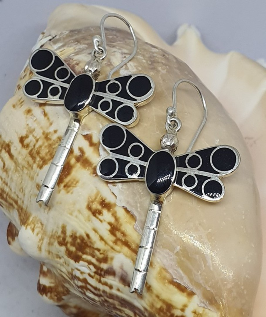 Black dragonfly earrings - now on sale image 3