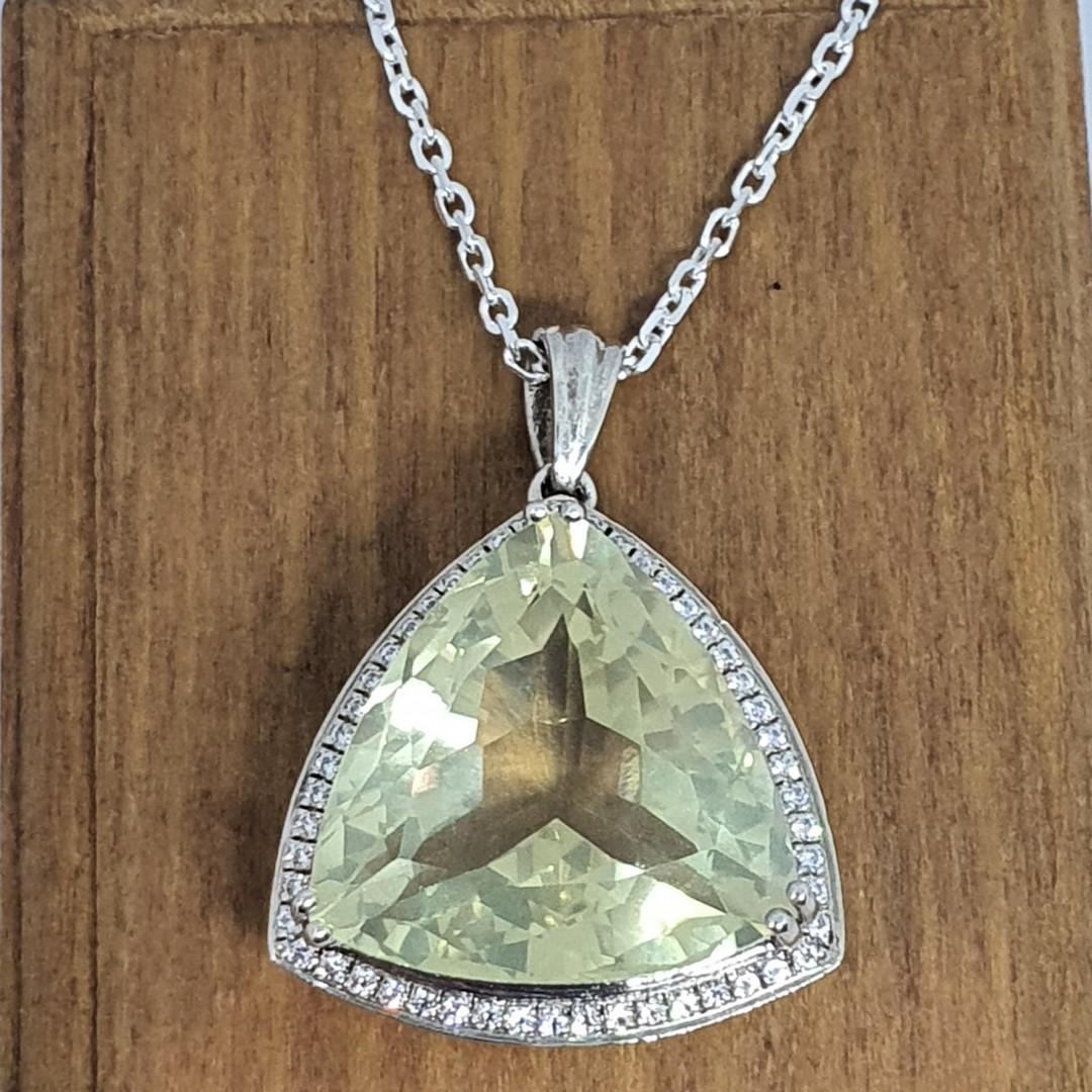 Large trillion lemon quartz and cz pendant image 1
