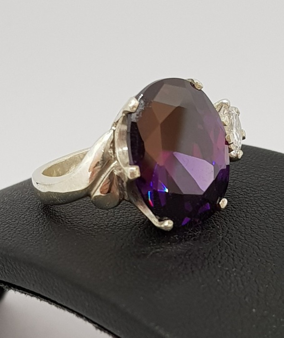 Sterling silver royal purple ring image 1