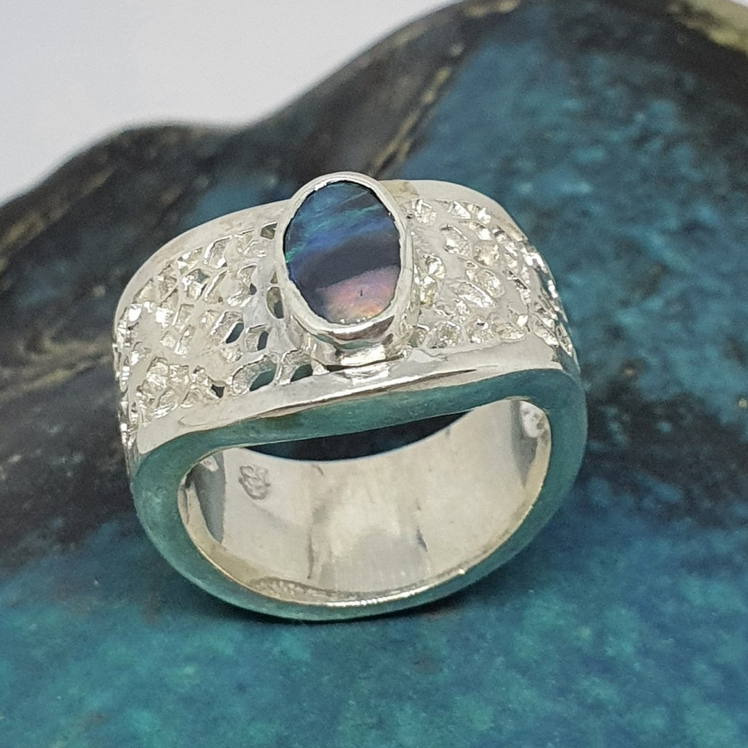Chunky silver opal ring - made in NZ image 4