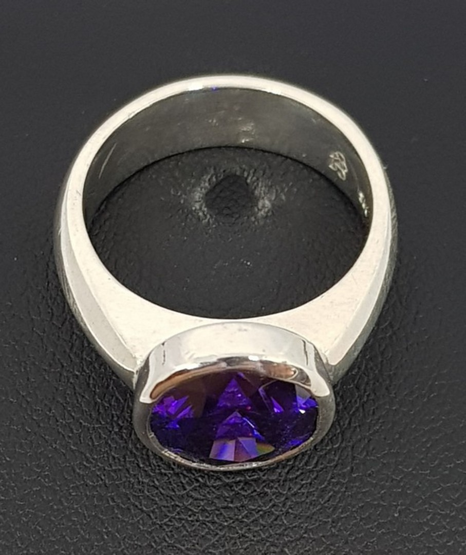 Sterling silver ring with sparkling synthetic amethyst image 1
